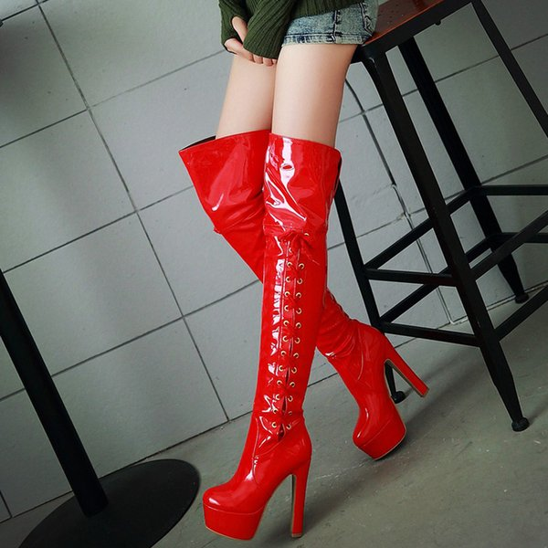 Over The Knee Boots High Heels Women Winter Boots Fashion Patent Leather Platform Pole Dance Shoes Lace Up Warm Boots Plus Size