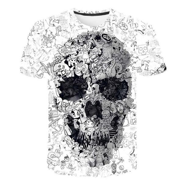 Mens Designer t shirts 3d Skull Print tshirts Hip Hop short sleeve tee shirts streetwear men clothe