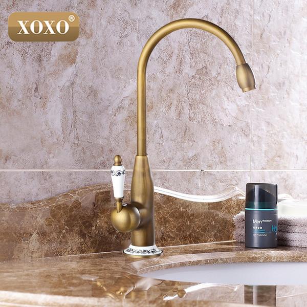 XOXOnew estilo antigo acabamento em latão torneira torneiras da pia da cozinha torneira misturadora com cerâmica quente e fria 50041BT-2