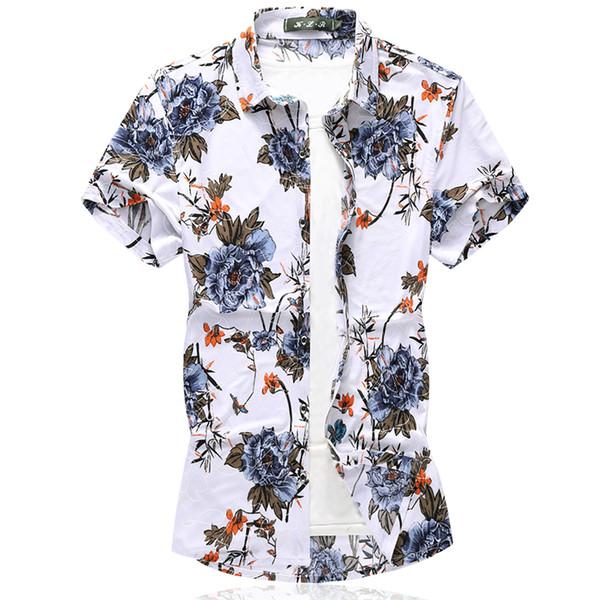 Новое Прибытие Мужская Рубашка С Коротким Рукавом Цветочные Платье Повседневная Гавайская Рубашка Slim Fit Мужские Рубашки Платья Плюс Размер