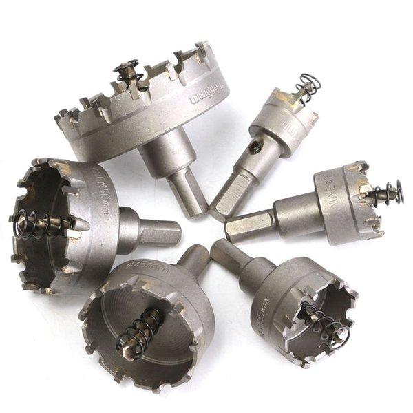 6pcs trou scie Ensemble carbure Astuce TCT de base Mèche trou scie pour coupe en alliage d'acier inoxydable Accessoires Électroportatif