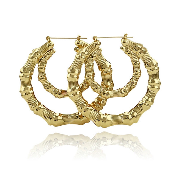 92f11d06e779a 2019 Bamboo Large Double Hoop Earrings For Women Western Hot Sale Simple  Huggie Earring Exaggerated Fashion Jewelry Golden Rose Gold From ...