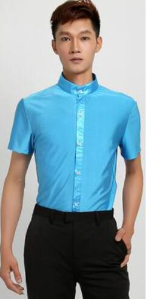 Mens Ballroom Shirts Latin Dance Top Mens Sexy Performance Dancewear stand up Collar