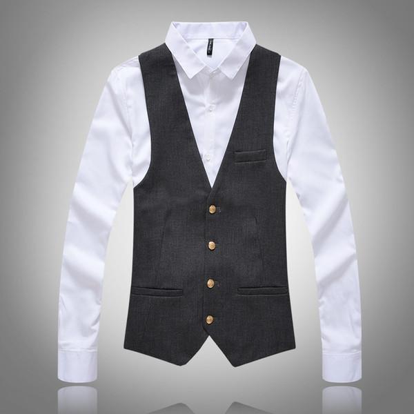 2019 Nuovi uomini di alta qualità Dress Vests Slim Fit Mens Suit Gilet top button Gilet Casual senza maniche formale Giacca di marca aziendale