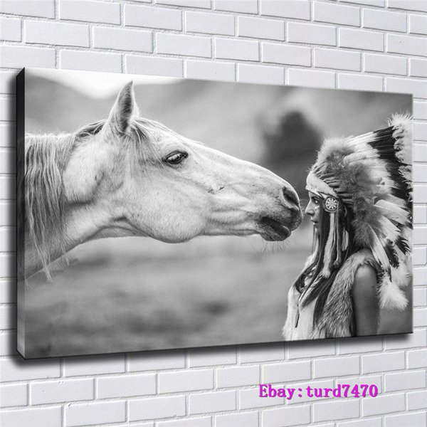 Native American Indian, Horse,1 Pieces Canvas Prints Wall Art Oil Painting Home Decor (Unframed/Framed) 24x36.