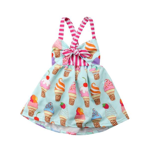 Enfant en bas âge enfants bébé filles sangle dos nu robe de glace vêtements d'été robe