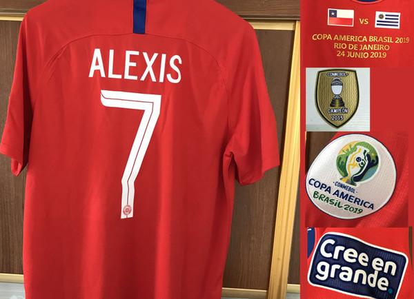 2019 Copa america Cile Alex Sanchez Vidal con dettagli partita vs peru colombia urugay Ferro Patch Badge Tessili per la casa