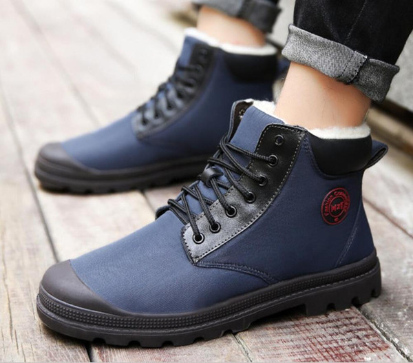 Kürk Casual Boot Erkek Kış Ayakkabı Work erkekler Kauçuk su geçirmez kumaş için Erkek Botları Büyük Kış Ayakkabı Sıcak ayakkabılar hombre