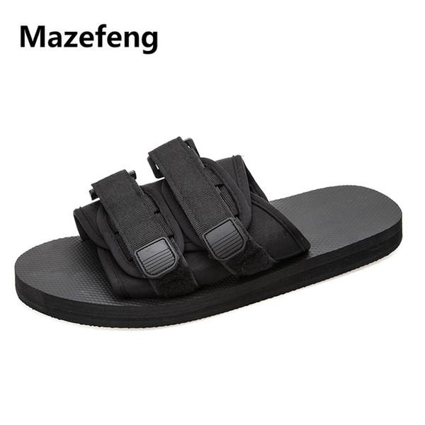 Mazefeng 2018 New Trend Summer Men Casual Sandals Lovers Sandals Unisex Beach Antiskid Male Slides Soft Hook&Loop