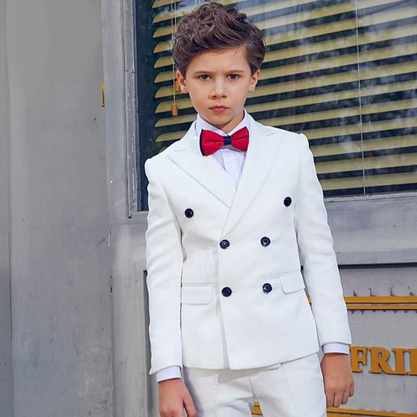 Completo da bambina Bianco Giacca doppiopetto Slim Fit Scialle Risvolto Smoking 2 pezzi Per Matrimonio 2019 Novità (Blazer + Pantaloni)