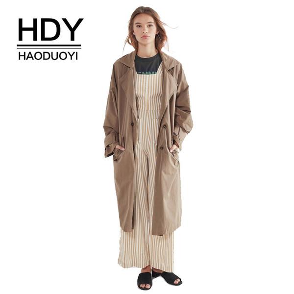 HDY Haoduoyi Blazer Style Trench Cappotto lungo trench con cintura Vintage drappeggiato Colletto rovesciato Moda donna Mantenere caldo
