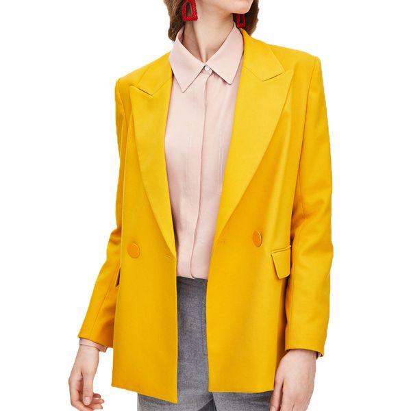 Ropa de mujer de otoño 2019, chaqueta casual de color amarillo, abrigo de manga larga de una sola hebilla y blazer femenino.