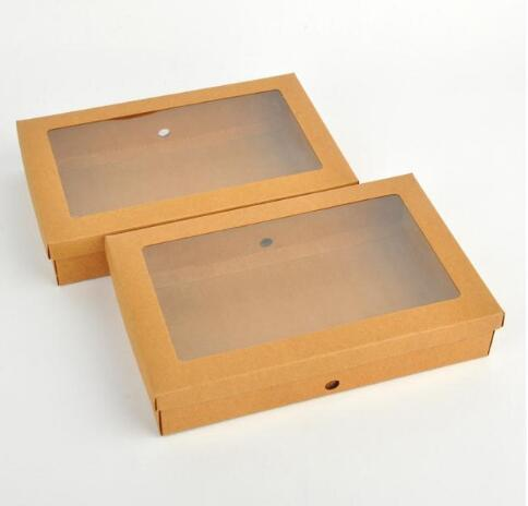22*14*4.3cm Kraft paper gift box package with clear pvc window candy favors arts&krafts display package box scarves b