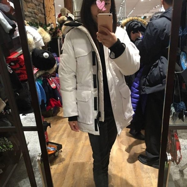 Canada Parka Jacket For Women Real Wolf Fur Trim Hooded Outdoor Warm Long Down Jacket Ladies Bomber Thick Coat