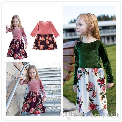 Nuovi vestiti dal fiore in velluto ragazza europei e americani INS stili della ragazza di autunno a maniche lunghe abbigliamento vestito floreale moda bambini 2 colori