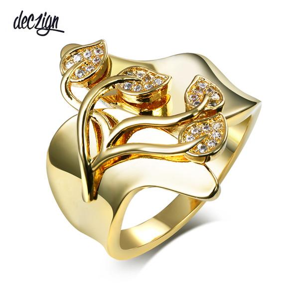 Deczign Romantic leafs design Ring Clear Crystal Zircon stones Gold/Rhodium Plated Birthday Gift Rings SJ24578