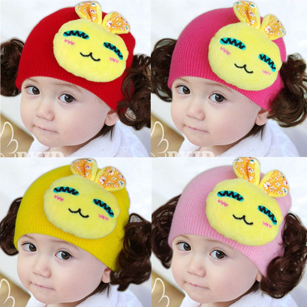 Best Selling Baby Caps Knitted Infant Cap Cartoon Newly Winter Warm Hat Outdoors Lovely Children Toddler Hats Baby Bunny Hat