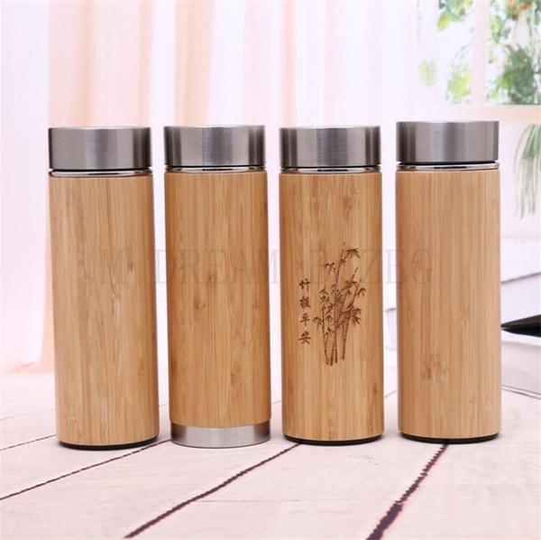 Bambú natural del vaso 450ml 350ml Acero inoxidable Liner termos botella de vacío aislados botellas de té del café taza de bambú de la Copa