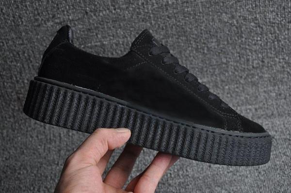 Hot Sale-Womens Rihanna Riri Fenty Platform Creeper Velvet Pack Burgundy Black Grey Color Brand Ladies Classic Casual Shoes 36-39
