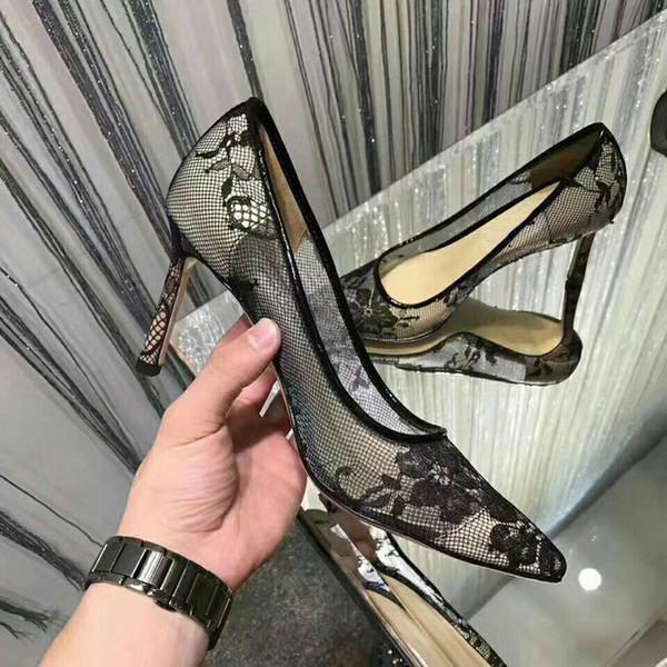 Lüks dantel çiçek yüksek topuk marka tasarımcısı seksi dantel sivri bayan ayakkabıları zarif siyah akşam yemeği parti 35-40
