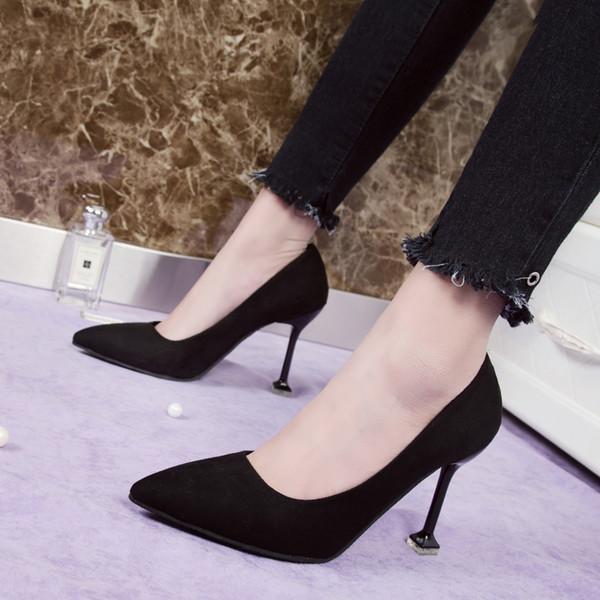 Yeni vahşi süet stiletto topuklu 9cm moda seksi rahat yüksek topuklu siyah büyük boy bayan ayakkabıları.