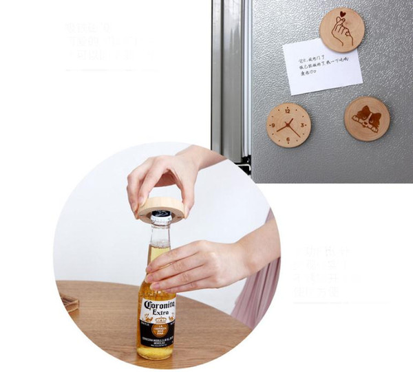 100Pcs/lot DIY Wooden Round Shape Bottle Opener Coaster Fridge Magnet Decoration Beer Bottle Opener Custom logo SN2604