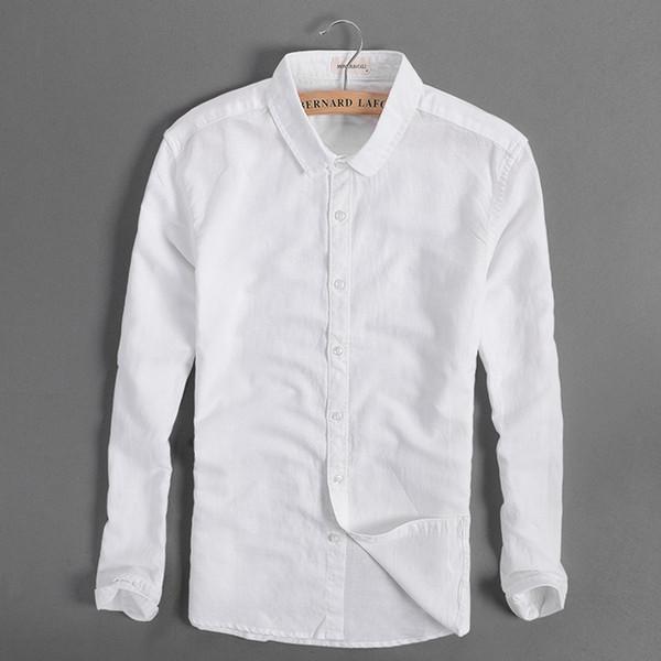 Italy brand men shirt linen long sleeve cotton shirt men casual solid four seasons white shirts mens fashion clothing camisa 4XL