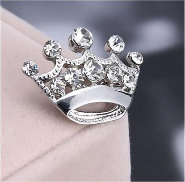 360 stücke Silber gold Kristall Kleine Krone Pin Brosche Nette Legierung Frauen Kragen Pins Hochzeit Brautschmuck Zubehör silber gold Rhinstone R282