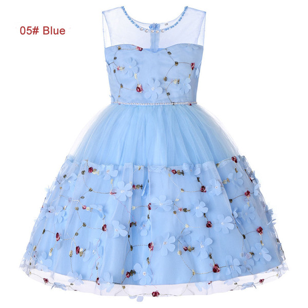 summer 4 to 14 years Girls Rhinestone pearls tutu dress, pink/red/purple/green/blue, kids & teenager boutique tulle clothes, 2AAX808DS-06