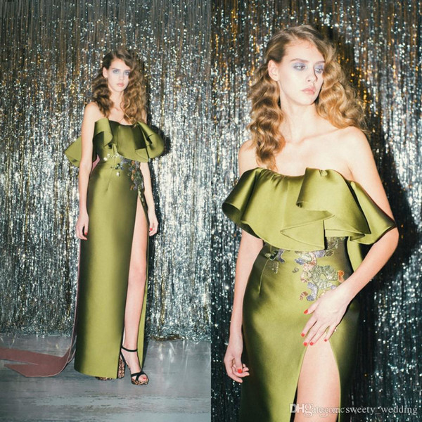 e3b7ec2628b2 Olive Green Ruffles Strapless Prom Party Dresses with Embroidery 2019 Full  length Backless Sheath Lace Slit