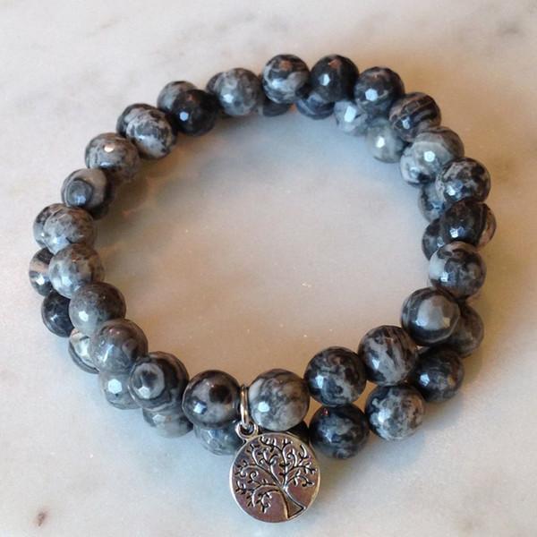 Herren stapelbare Armbänder Set Baum des Lebens Charm Armband Set 2 Mala Perlen Perlen Armband Yoga Schmuck Geschenk für Männer