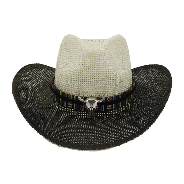 Black Paint Spraying Large Brim Cowboy Hats Summer Men Women Paper Sun Protection Hat Panama Beach Straw Cap Holiday Sunhat