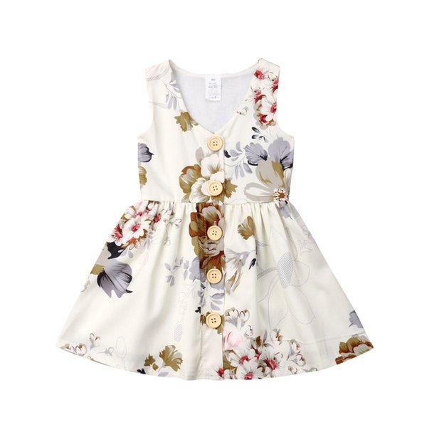 INS Mädchen Prinzessin Kleid Sommer ärmellose Tank Kleider Blumen Kleinkind Rock Knopf Dekor Kinder Partei tragen Geburtstagsgeschenke 80-120cm A3123