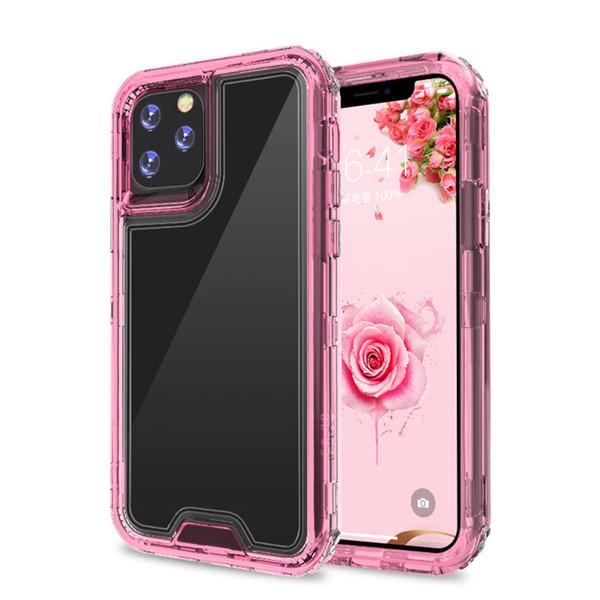 Pour Iphone 11 PRO max XS max XR X Samsung LG MOTOROLA téléphone portable TPU transparent PC antichoc coloré clair cache de protection