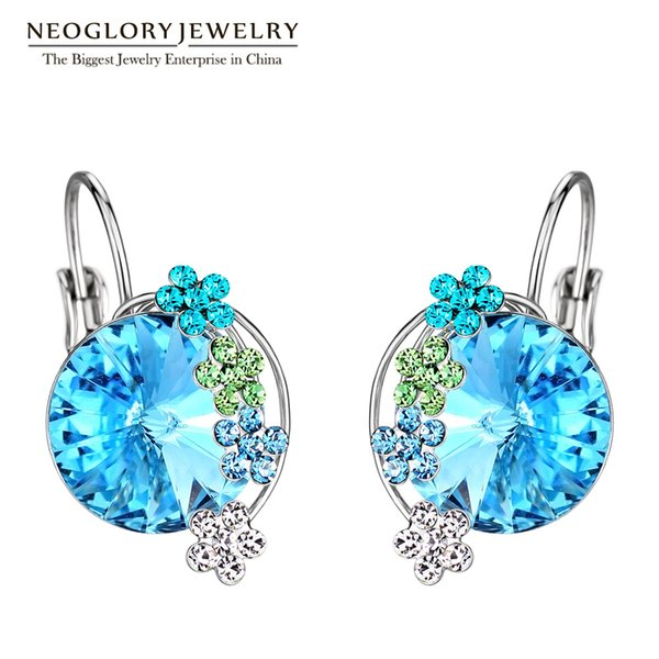 Clip Earrings Neoglory Blue Crystal Flower Love Clip Cuff Earrings Birthday Teen Girl Gifts Charm Brand Fashion Statement Jewelry 2018 Ne...
