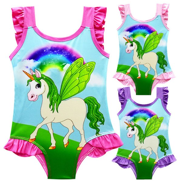 INS Unicorn kids swimwear 3 colors One Piece Bowknot Swimsuit Bikini Summer Cartoon Infant Swim Bathing Suit Beachwear JY42
