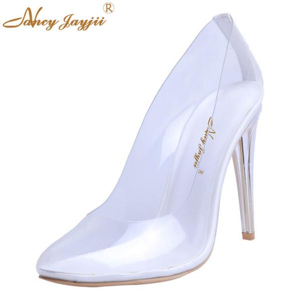 12128c83bc7 2019 Shoes Women Pumps Kim Kardashian Transparent Spring Silver Clear Heels  High 10CM Cinderella Glass Wedding Dress Marriage Deck Shoes Boat Shoes ...