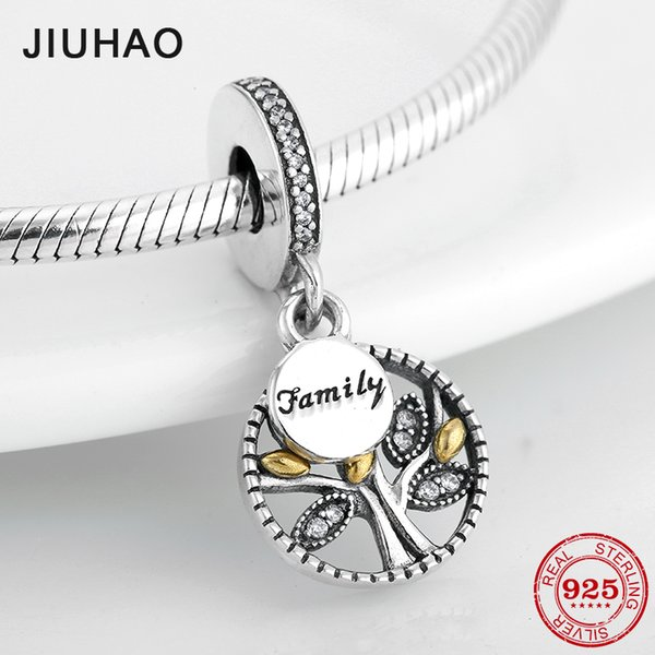 High quality 925 Sterling Silver Family Tree Of Life Charms Pendants Fit Original Pandora Bracelet Necklace DIY Jewelry making