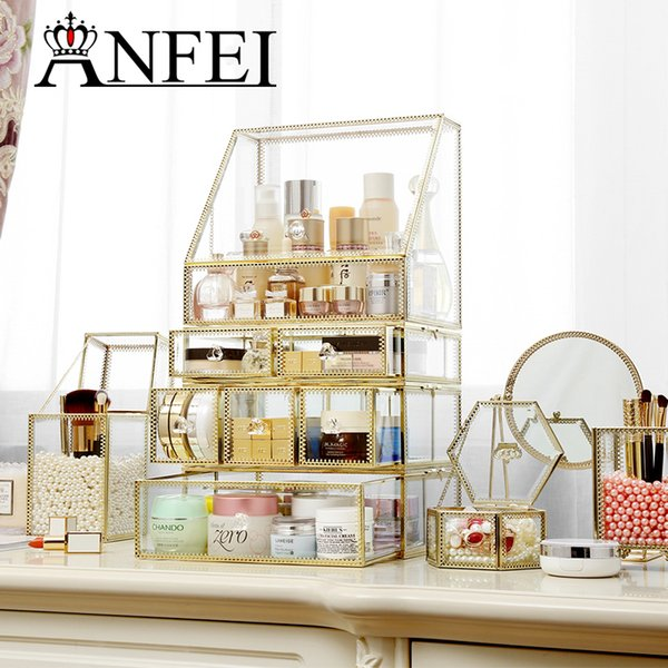ANFEI Drawers Big Clear Lipstick Storage Box Acrilic Transparent Glass And Golden border Make Up Cosmetic Makeup Organizer C218