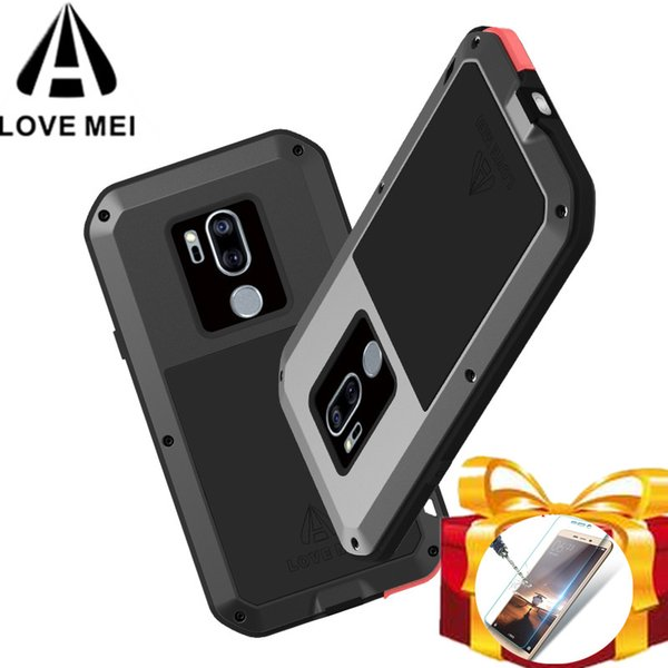 Gorilla glass filmGift) LOVE MEI Metal Waterproof Case For LG G7 ThinQ Shockproof Cover phone case For LG G7 Powerful cover capa