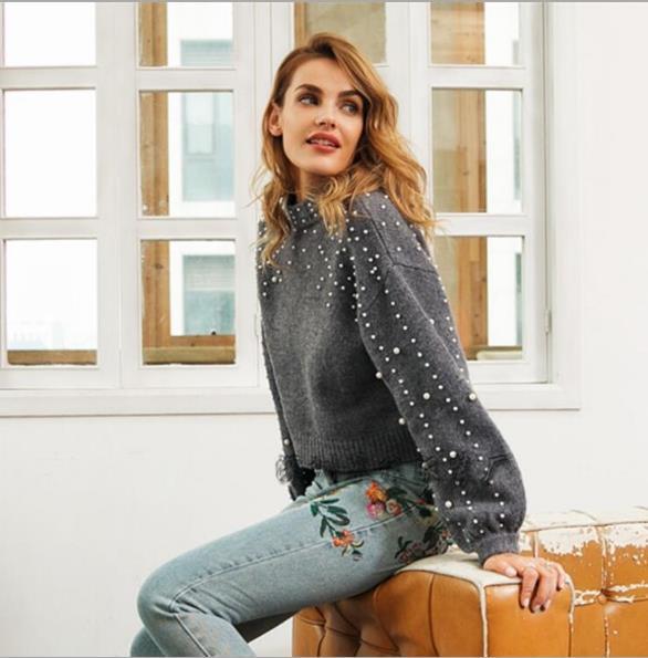 Mensyaz Tasarımcı Inci Sıcak Kazak Uzun Kollu Mürettebat Boyun Kazak Moda Kadın Giyim Rahat Giyim