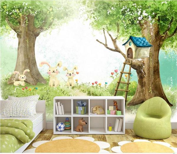нестандартный размер 3d фото обои росписи кровать комната дети прекрасный кролик большое дерево хижина 3d картина диван тв фоне обои росписи нетканые наклейки