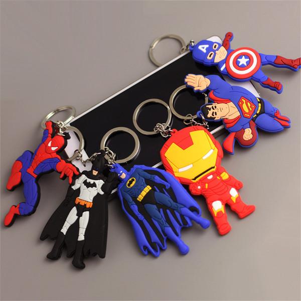 The Avengers Marvel Cartoon Figure PVC Keychain Anime Batman Spiderman Iron Men Key Ring Cartoon Marvel Avengers Figure Keyring Toy Keychain