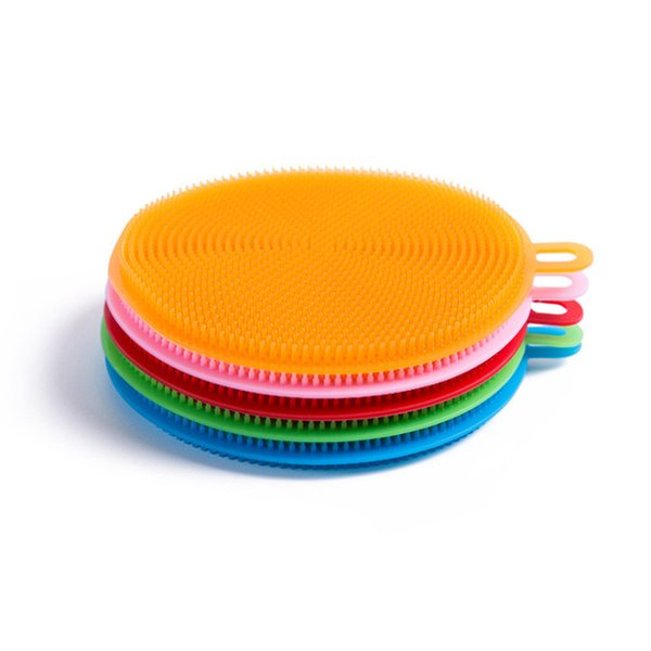 Silicone Dish Washing Brush Clean Dishwashing Soft Sponge Scrubber Cleaning Antibacterial Kitchen Tool Food Grade Multifunctional 10 pcs
