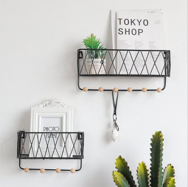 Hanging Storage Baskets with Hooks, Metal Wall-mounted Entryway Letter Key Rack Wire Shelf for Home, Office, School