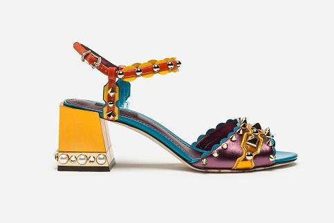 Free shipping 2019 Ladies diamond Chunky high heel peep-toes Patchwork Buckle Strap colourful rivets Bohemia SANDALS SHOES multi size 35-42