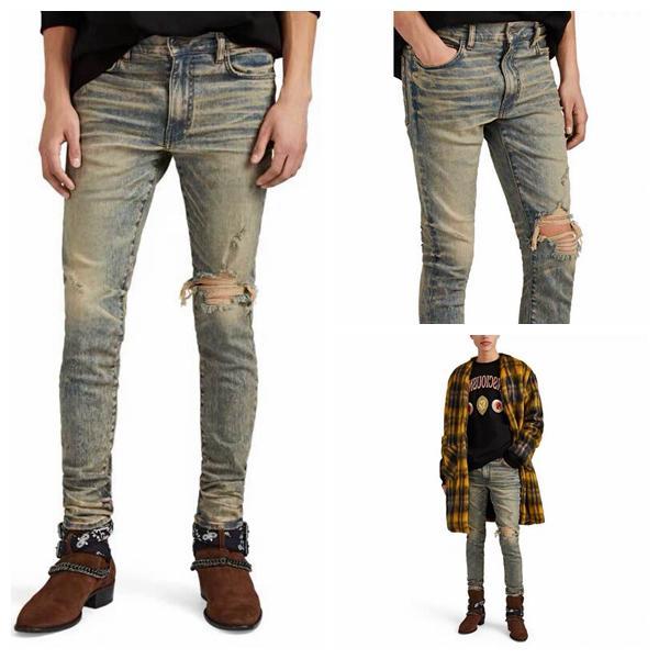 20ss хорошее качество Мужские дизайнерские джинсы Slim Fit Серый глиттер джинсы с треском до колена Biker Denim For Men Модный дизайнер amiri Мужские джинсы