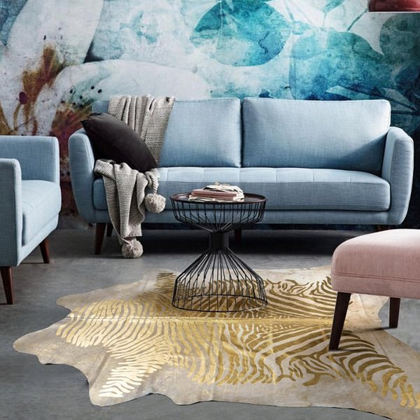American style abstract oil painting pattern natural cowhide skin fur rugbig size natural cut cow leather living room carpet