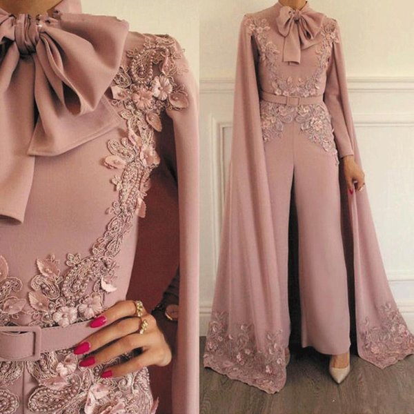 Woman Jumpsuit Evening Dresses Vintage Lace Applique Beaded Evening Party Gowns Long Sleeves Floor Length Formal Muslim Arabic Prom Dress