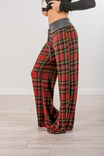 Kadınlar Gevşek Ekose Pantolon Moda Baggy Pantolon Geniş Bacak Pantolon İpli Uzun Düz Izgara Pantolon Pantolon Sweatpants Yeni İşaretli baskılı